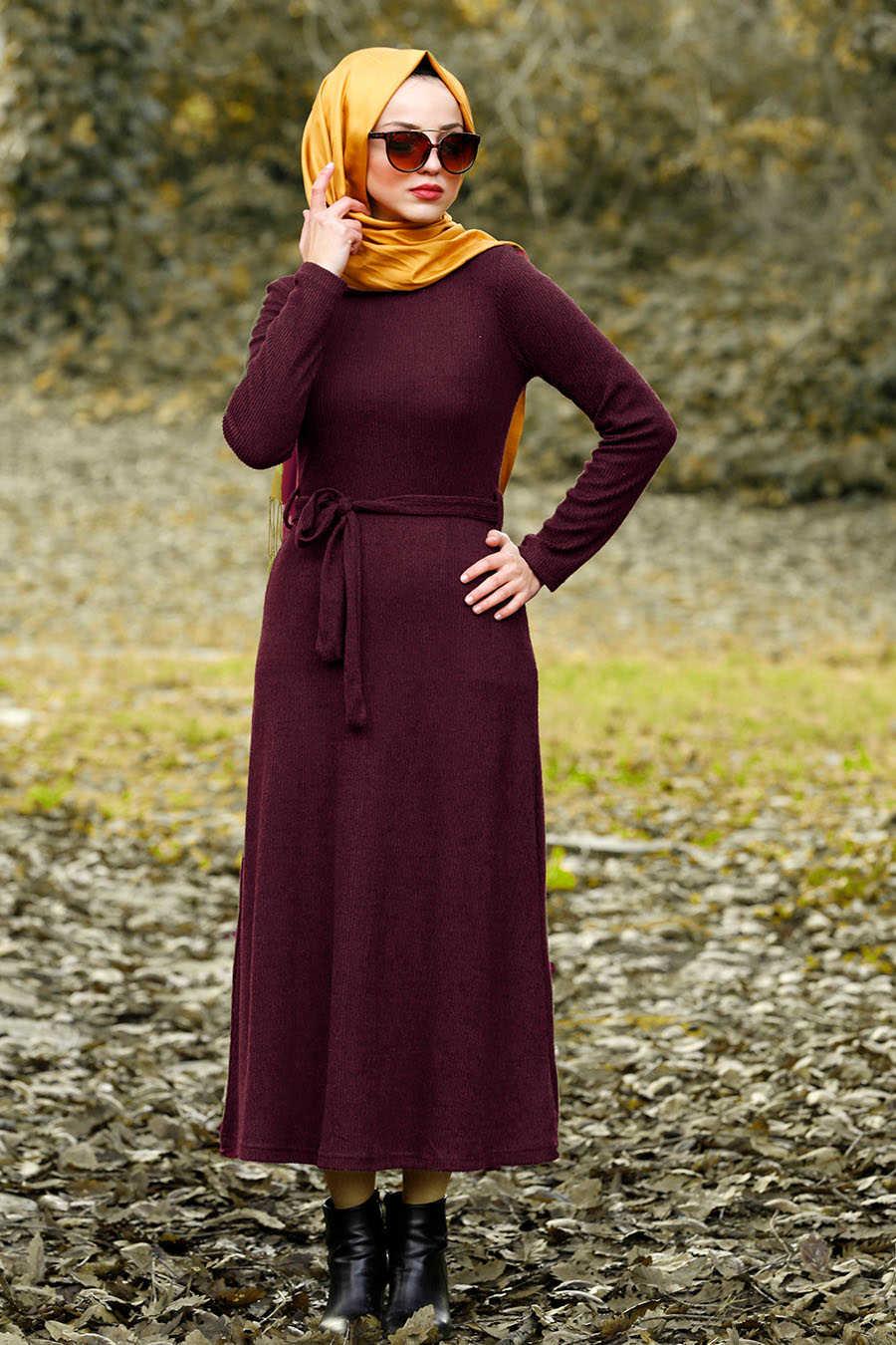 Neva Style - Plum Color Hijab Dress 1602MU