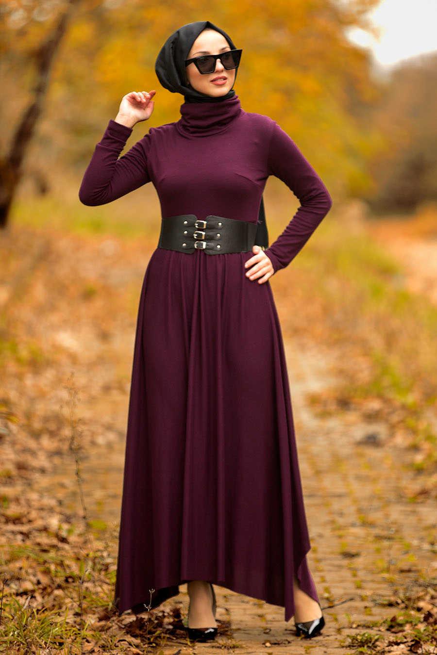 Neva Style - Plum Color Hijab Dress 3190MU