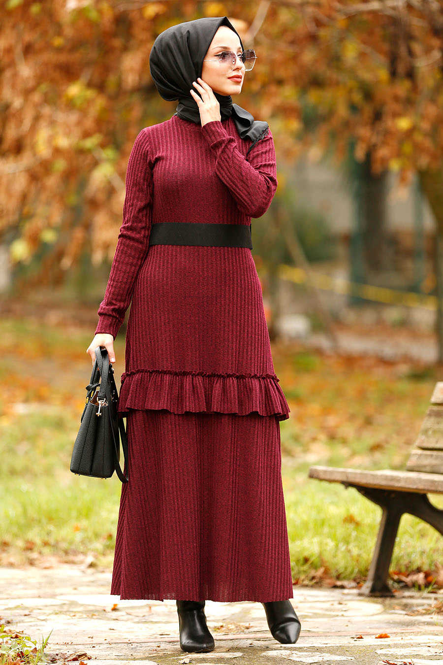 Neva Style - Plum Color Hijab Dress 4021MU