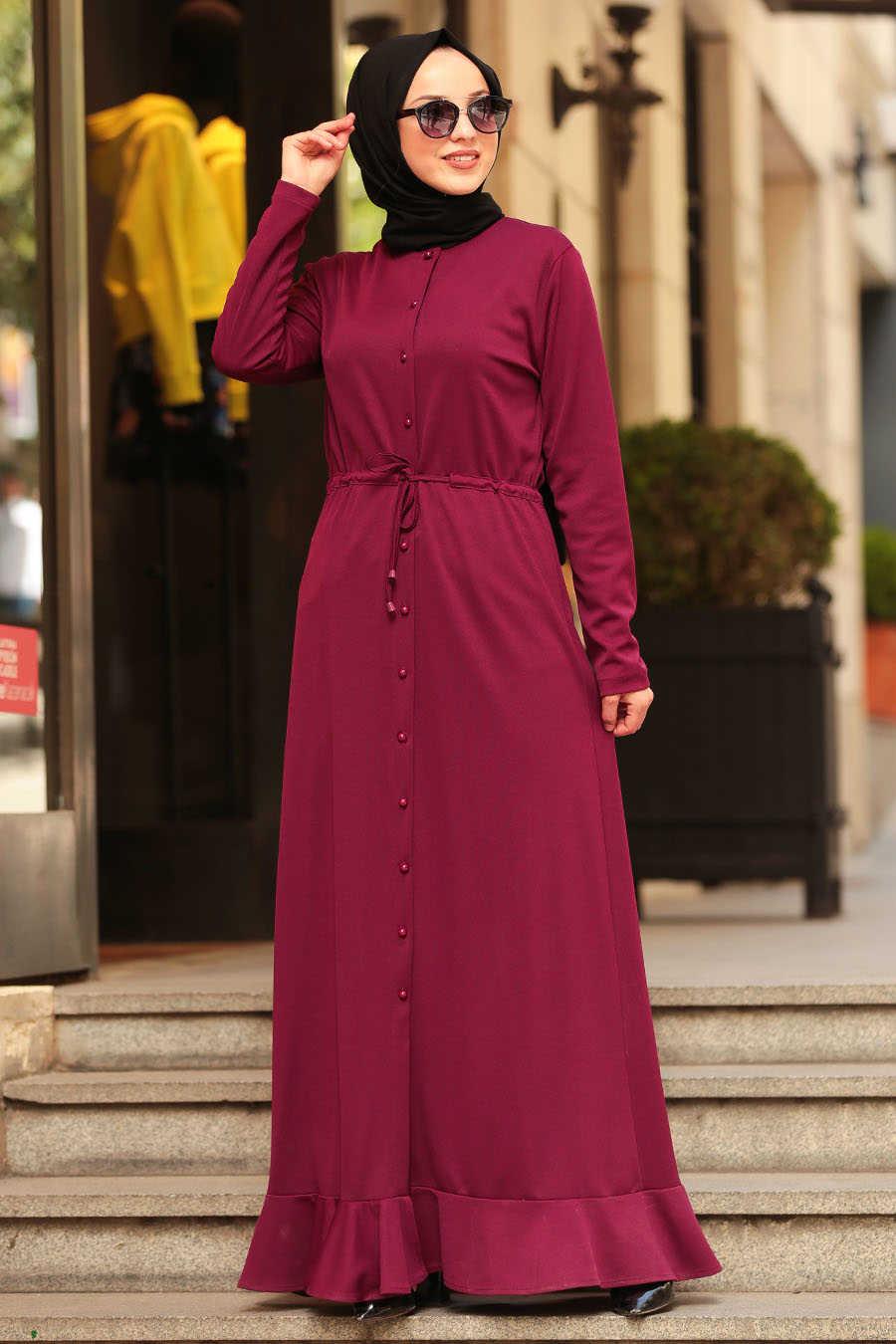 Neva Style - Plum Color Hijab Dress 42110MU