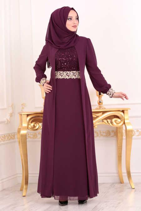 Neva Style - Plum Color Hijab Evening Dress 25700MU