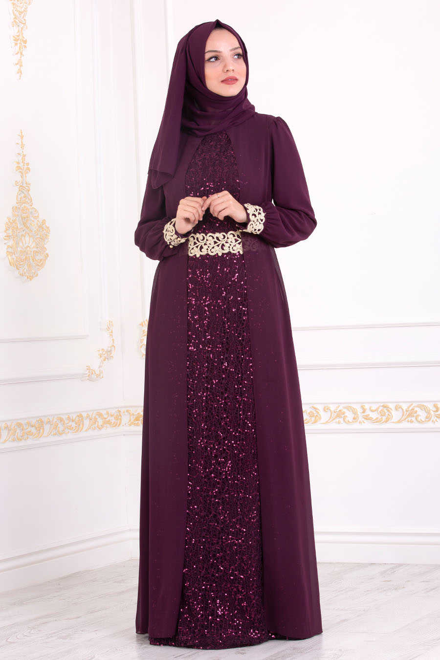 Neva Style - Plum Color Hijab Evening Dress 25717MU