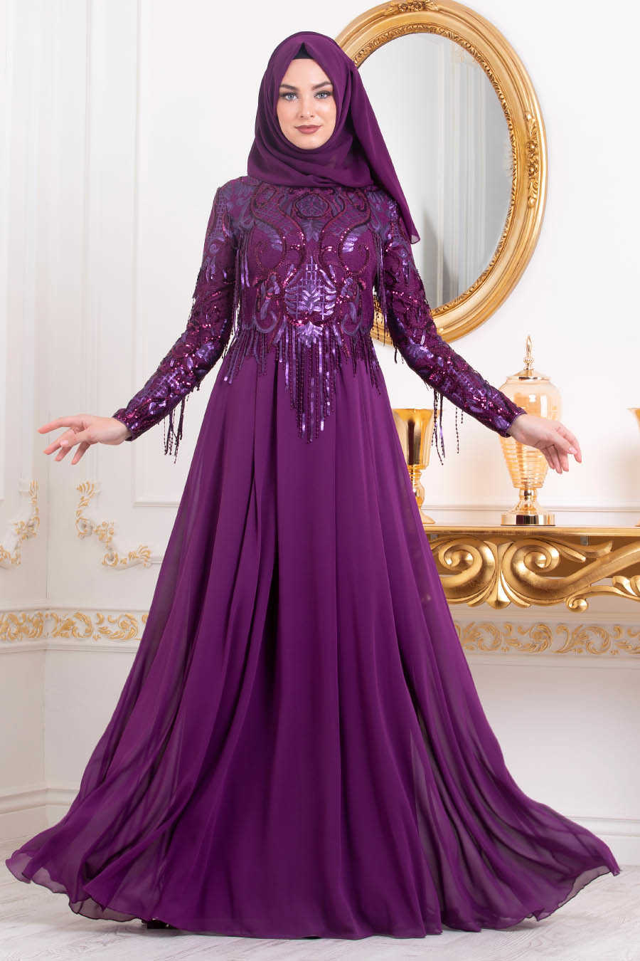 Neva Style - Plum Color Hijab Evening Dress 4591MU