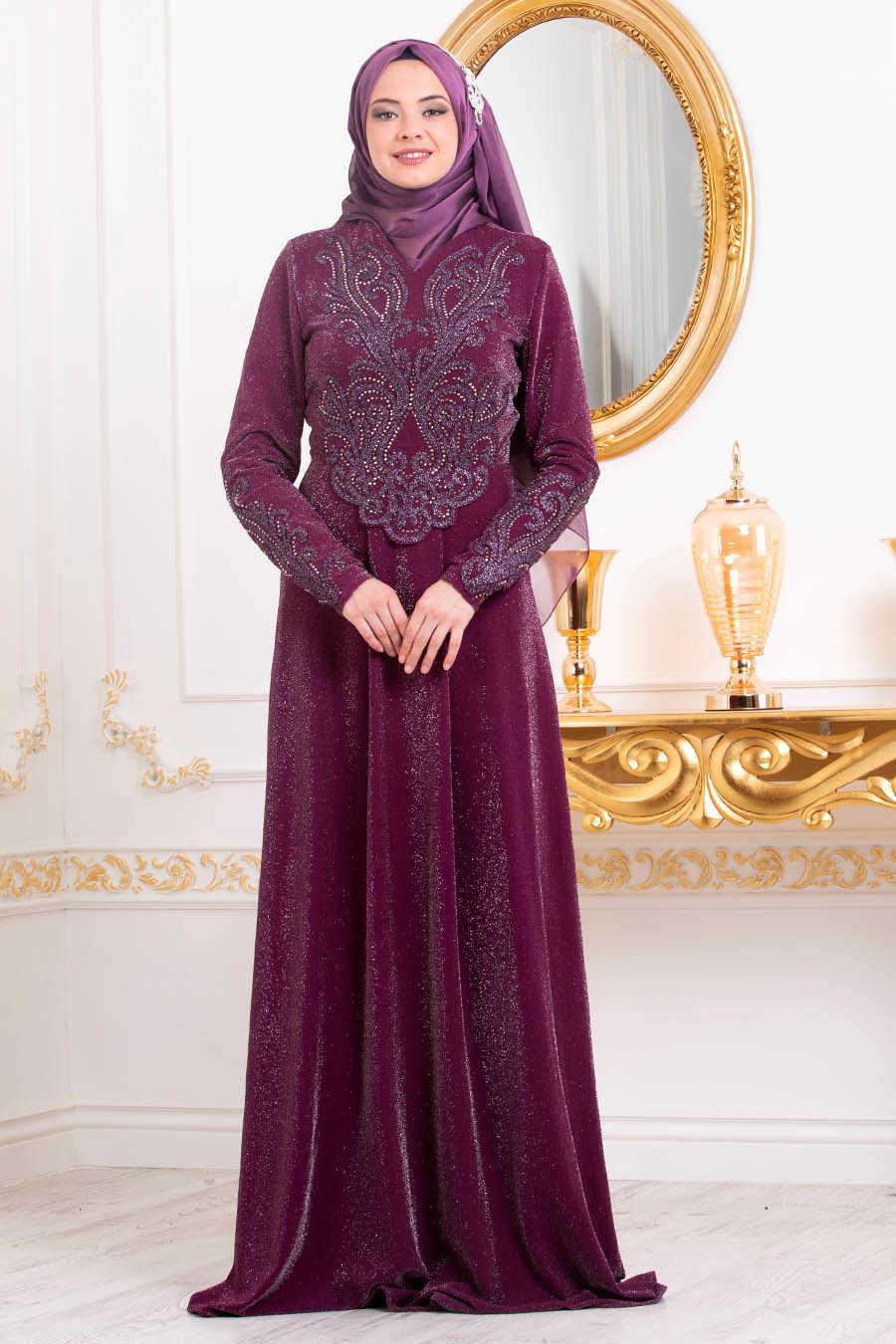 Neva Style - Plum Color Hijab Evening Dress 4633MU