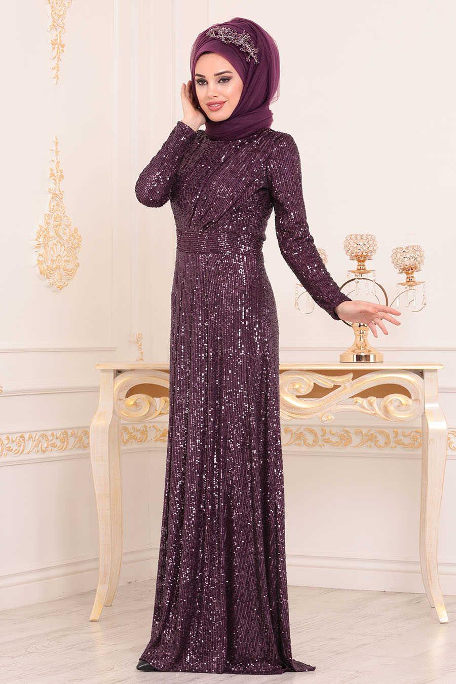 Neva Style - Plum Color Hijab Evening Dress 9106MU