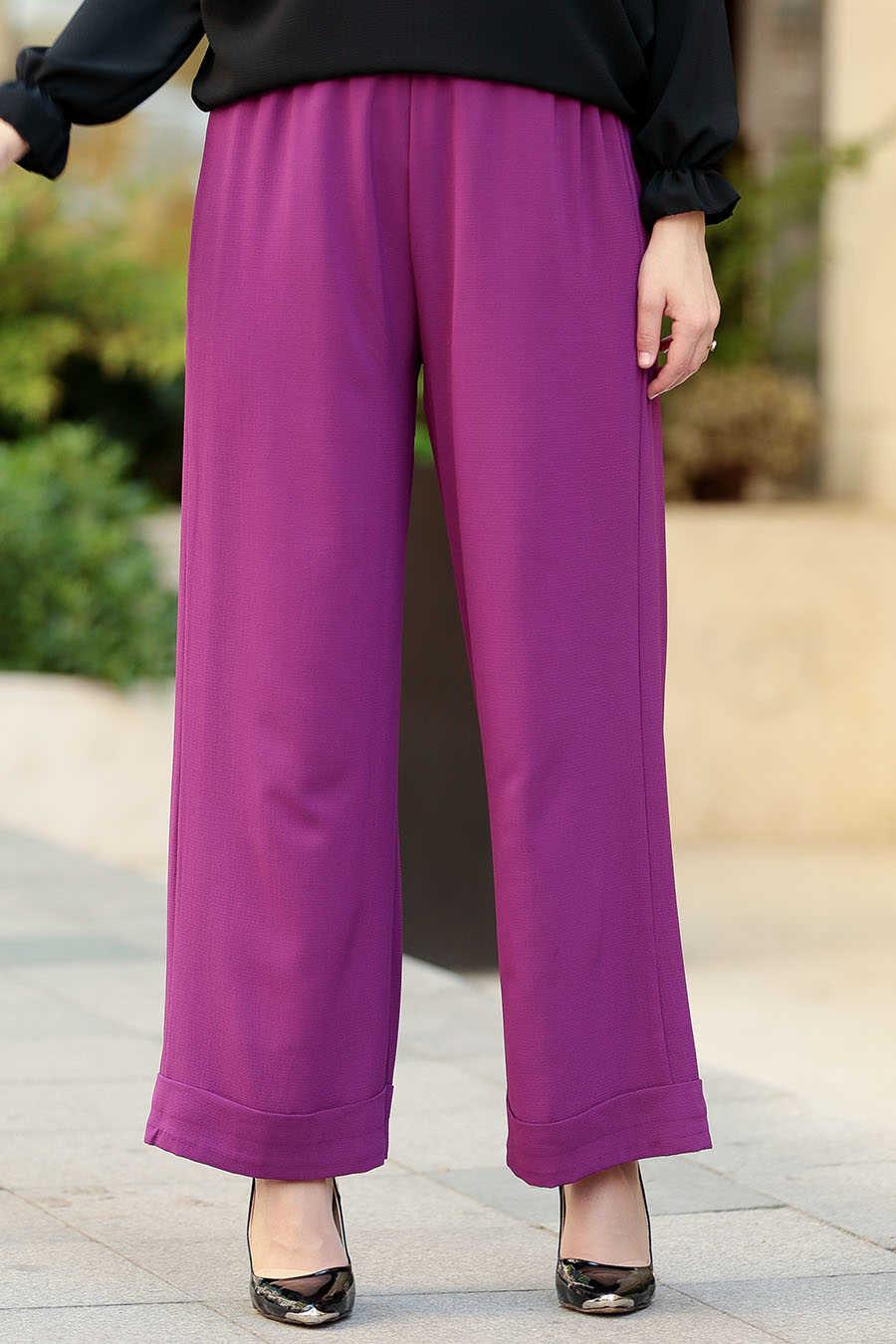 Neva Style - Plum Color Hijab Pants 8122MU
