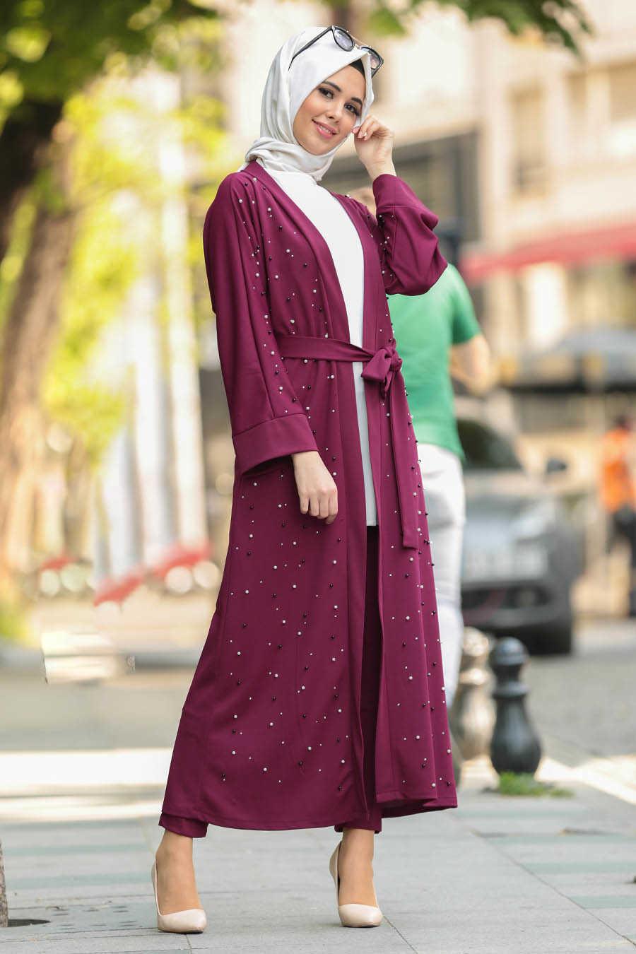 Neva Style - Plum Color Hijab Suit 100368MU