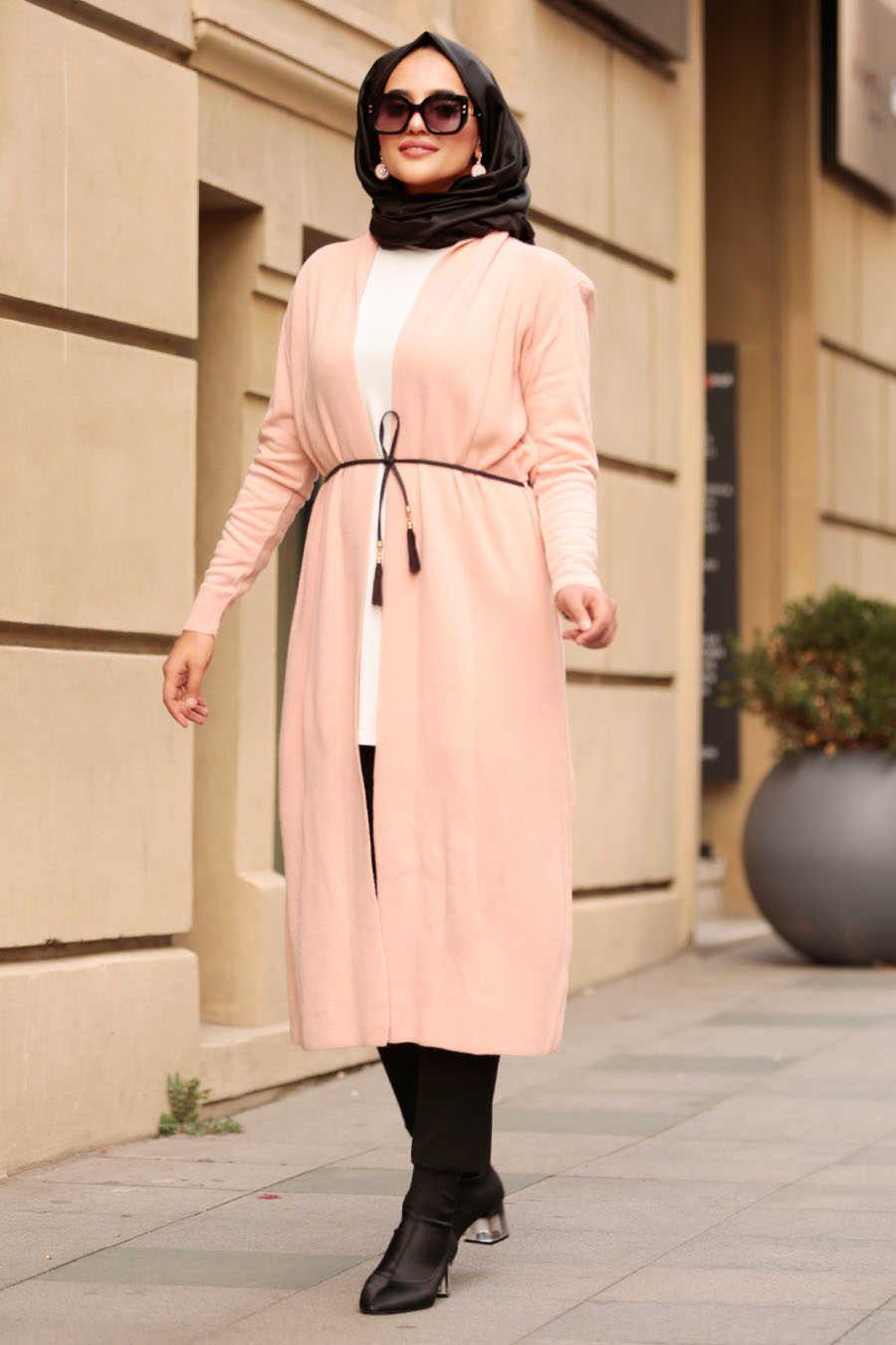 Neva Style - Powder Pink Hijab Cardigan 15426PD