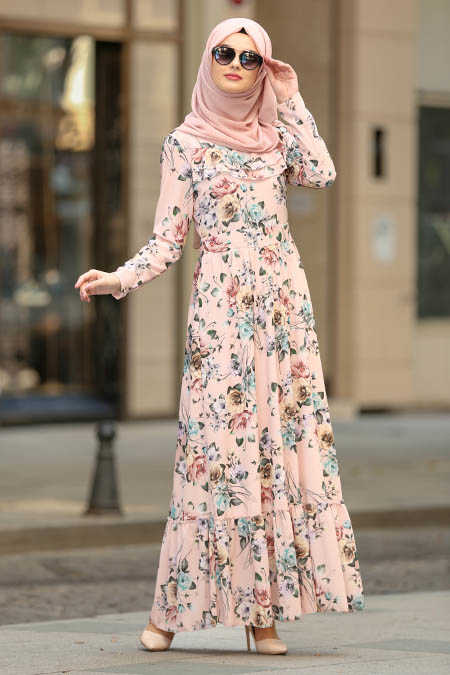Neva Style - Powder Pink Hijab Dress 100389PD
