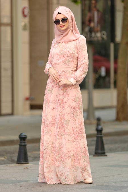Neva Style - Powder Pink Hijab Dress 81527PD