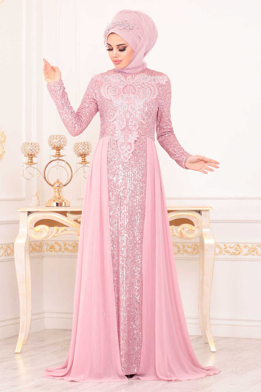 Neva Style - Powder Pink Hijab Evening Dress 25724PD