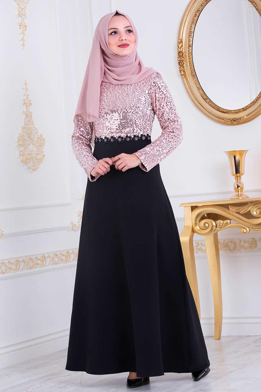 Neva Style - Powder Pink Hijab Evening Dress 3052PD