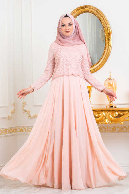 Neva Style - Salmon Pink Hijab Evening Dress 3126SMN
