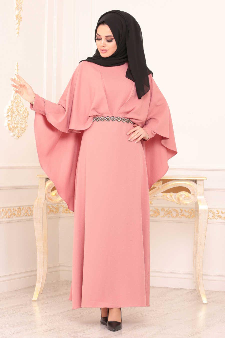 Neva Style - Powder Pink Hijab Evening Dress 5002PD