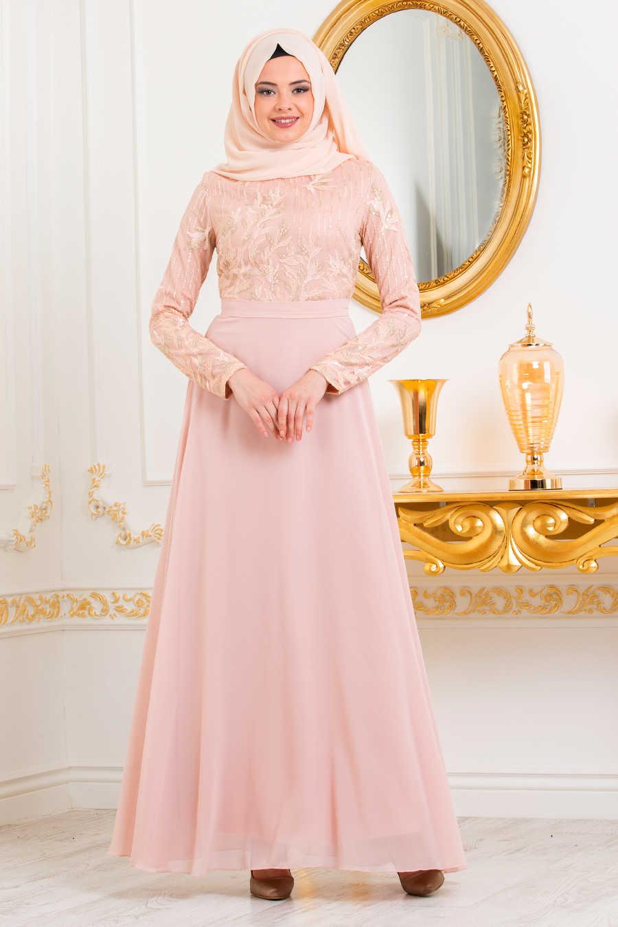 Neva Style - Powder Pink Hijab Evening Dress 82220PD