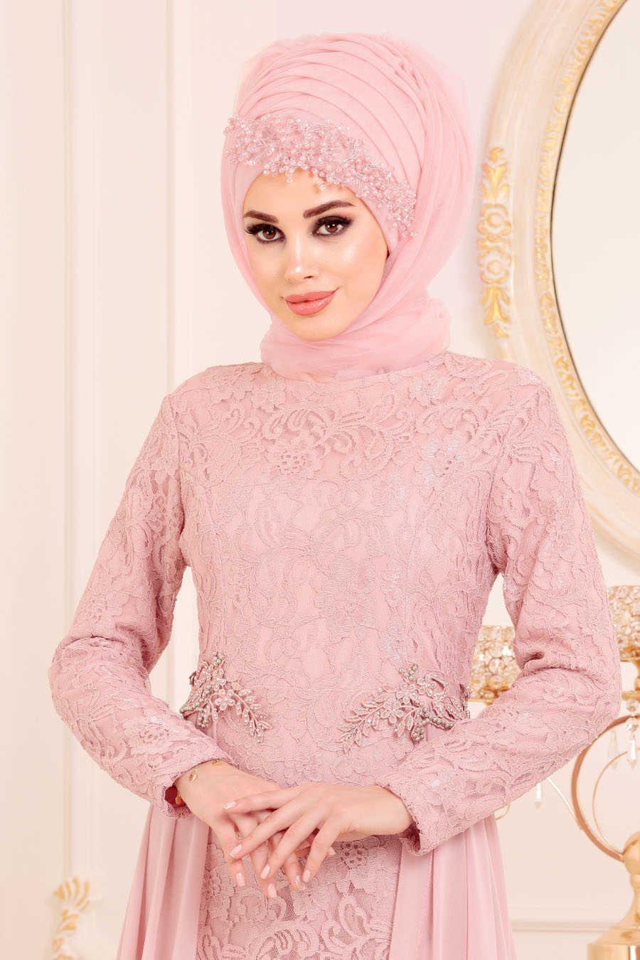 Neva Style - Powder Pink Hijab Evening Dress 9105PD