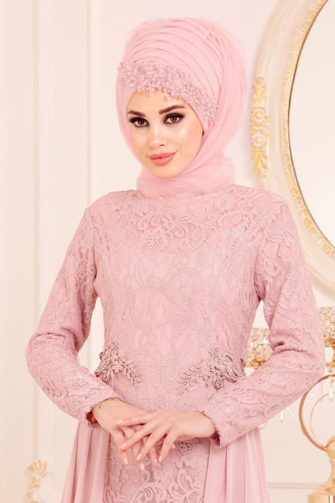 Neva Style - Powder Pink Hijab Evening Dress 9105PD - Thumbnail