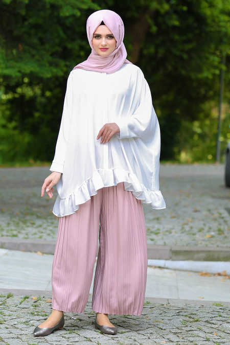 Neva Style - Powder Pink Hijab Pants 90630PD