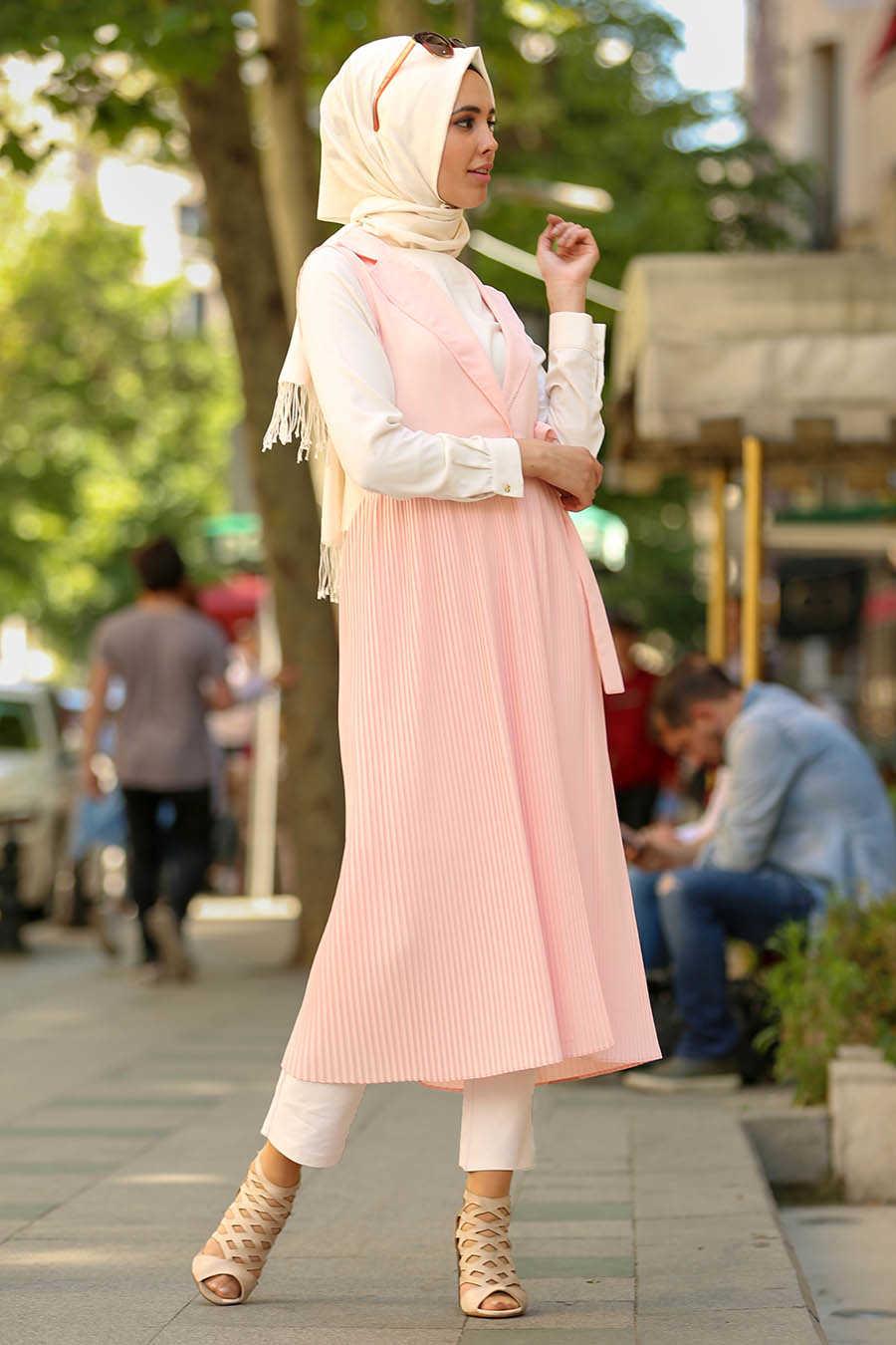 Neva Style - Powder Pink Hijab Vest 4969PD
