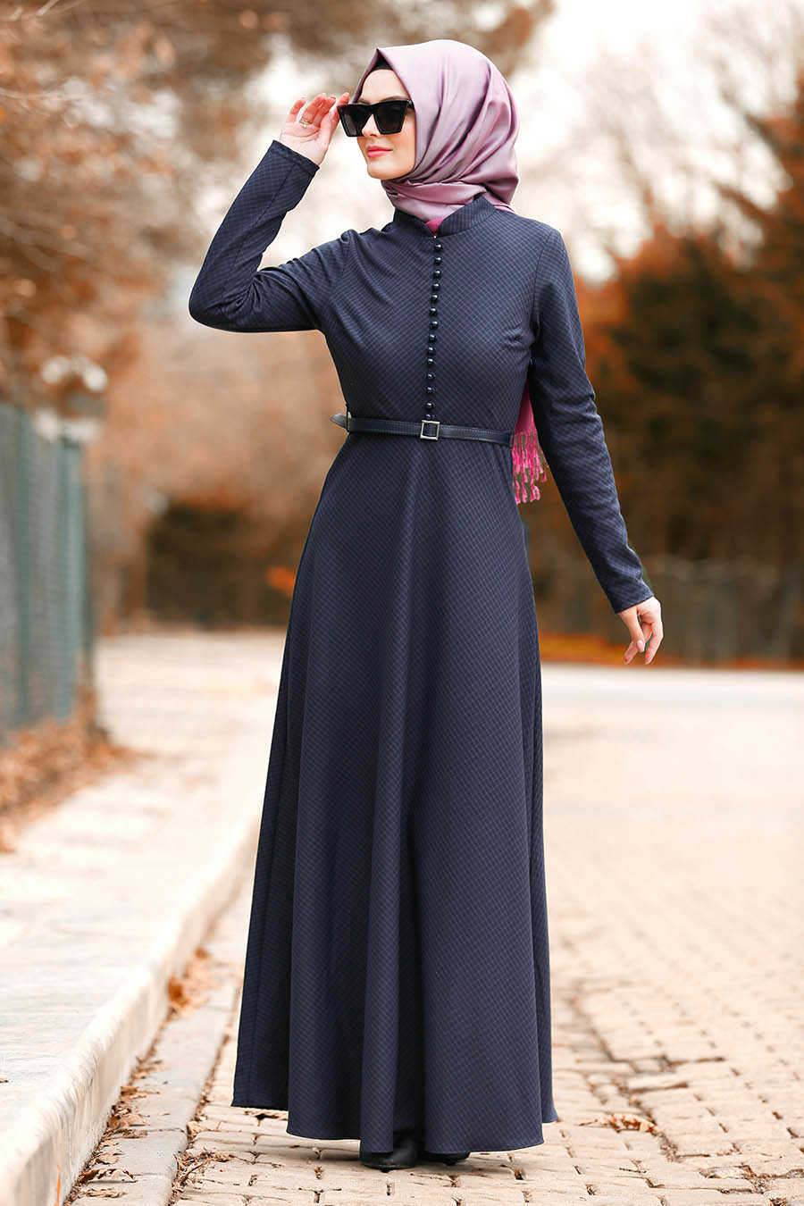 Neva Style - Purple Hijab Dress 8440MOR