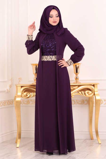 Neva Style - Purple Hijab Evening Dress 25700MOR