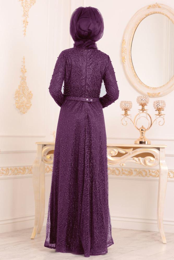 Neva Style - Purple Hijab Evening Dress 32501MOR - Thumbnail
