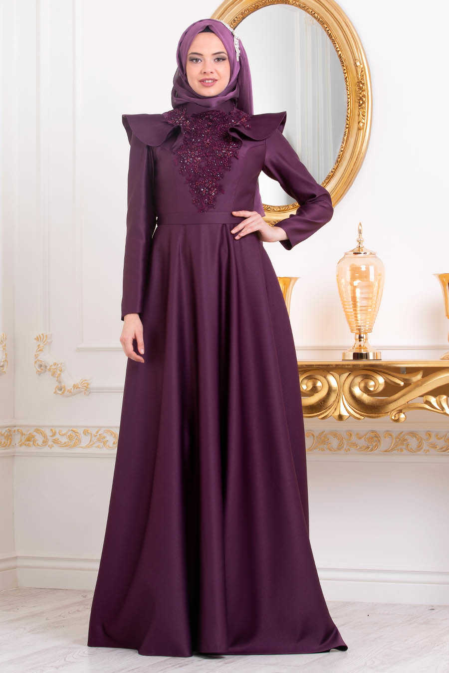 Neva Style - Purple Hijab Evening Dress 3695MOR