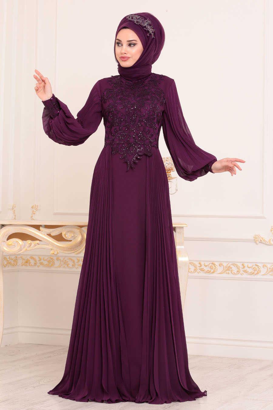 Neva Style - Purple Hijab Evening Dress 46220MOR