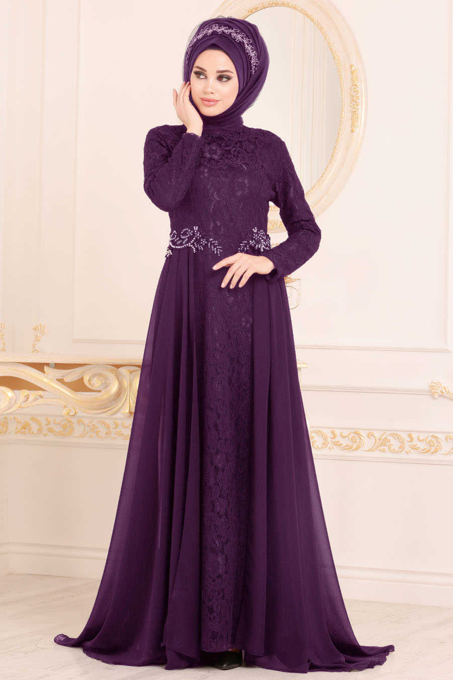 Neva Style - Purple Hijab Evening Dress 9105MOR