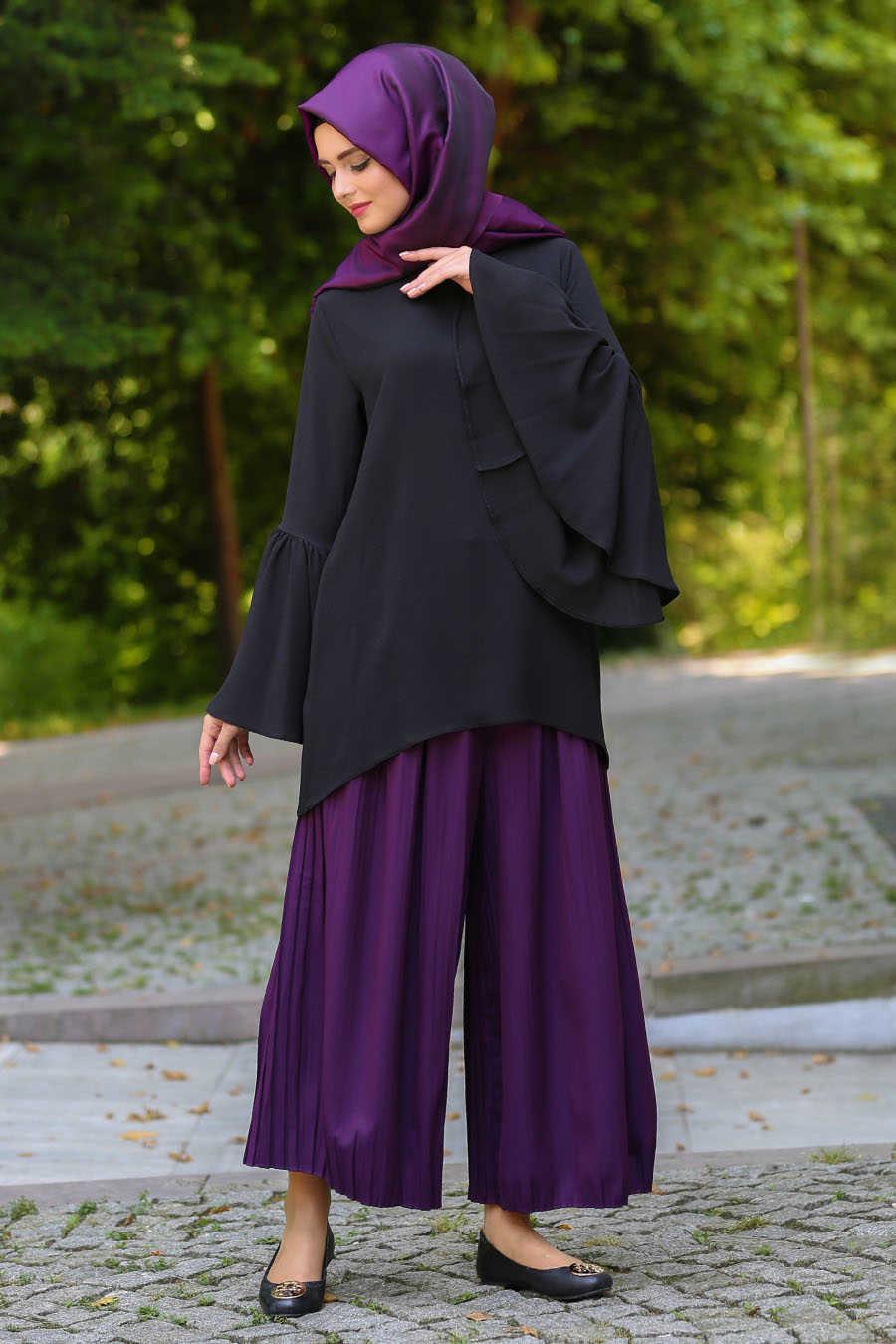 Neva Style - Purple Hijab Pants 90630MOR