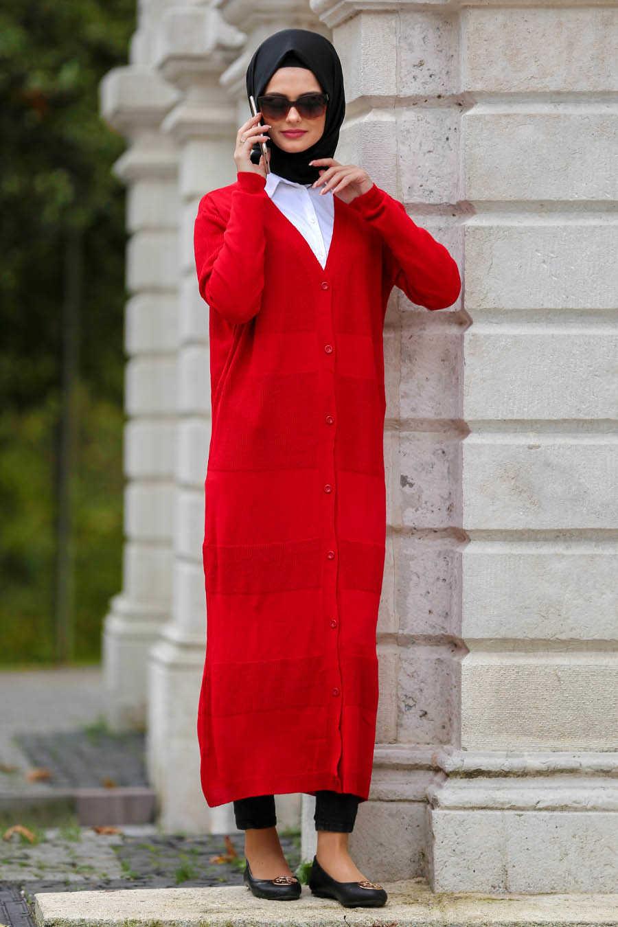 Neva Style - Red Hijab Cardigan 15033K