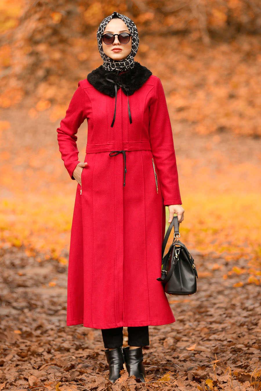 Neva Style - Red Hijab Coat 40261K