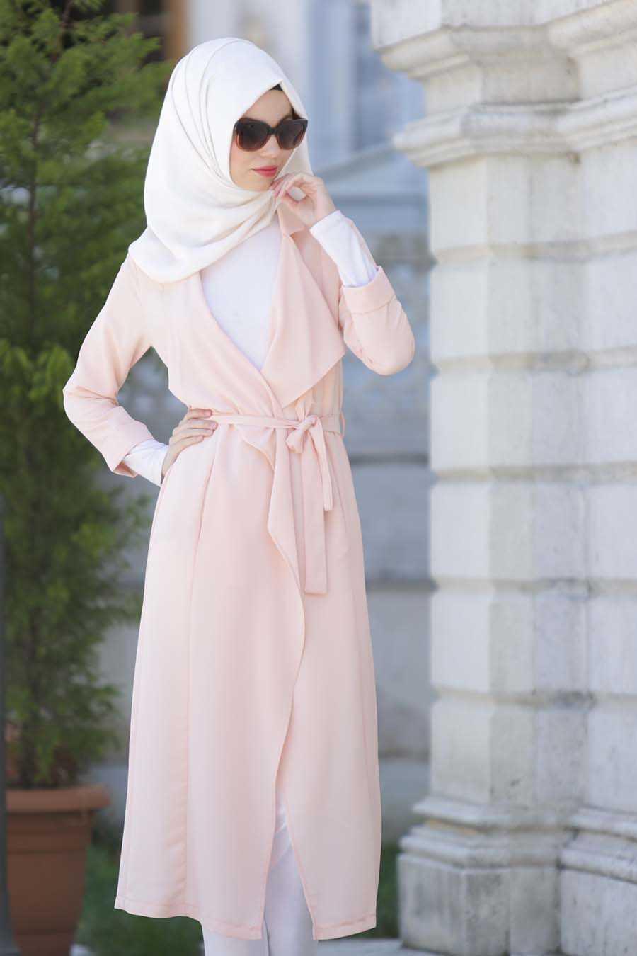 Neva Style - Salmon Pink Hijab Abaya 6128SMN