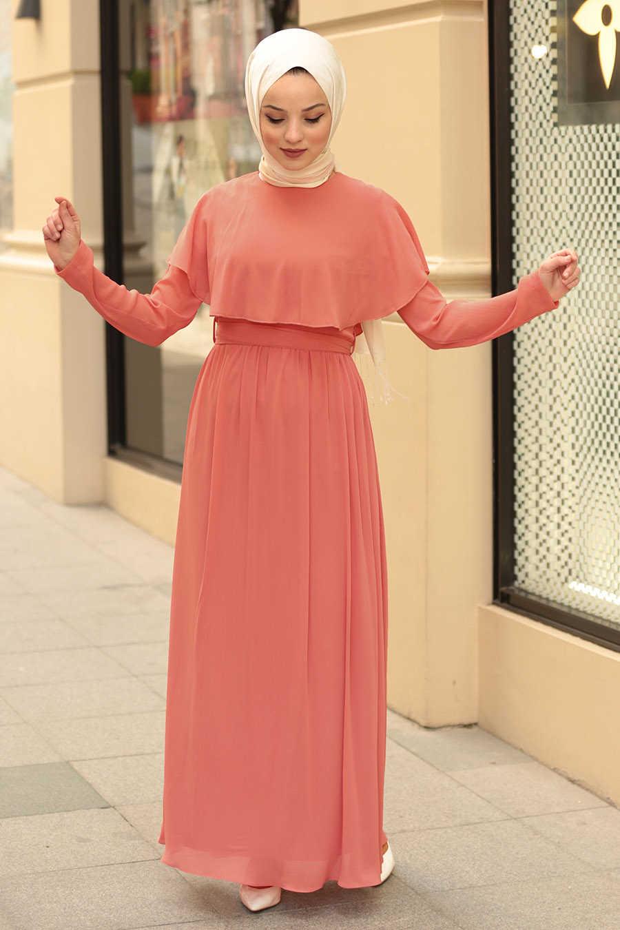 Neva Style - Salmon Pink Hijab Dress 4166SMN