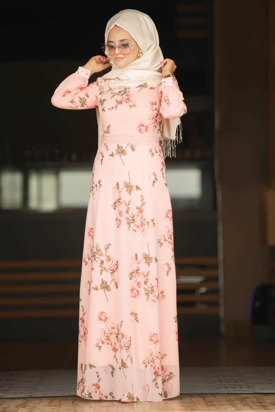 Neva Style - Salmon Pink Hijab Dress 815204SMN