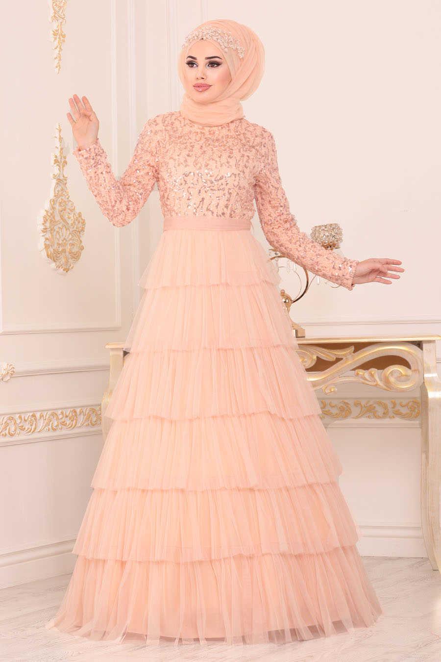Neva Style - Salmon Pink Hijab Evening Dress 25735SMN