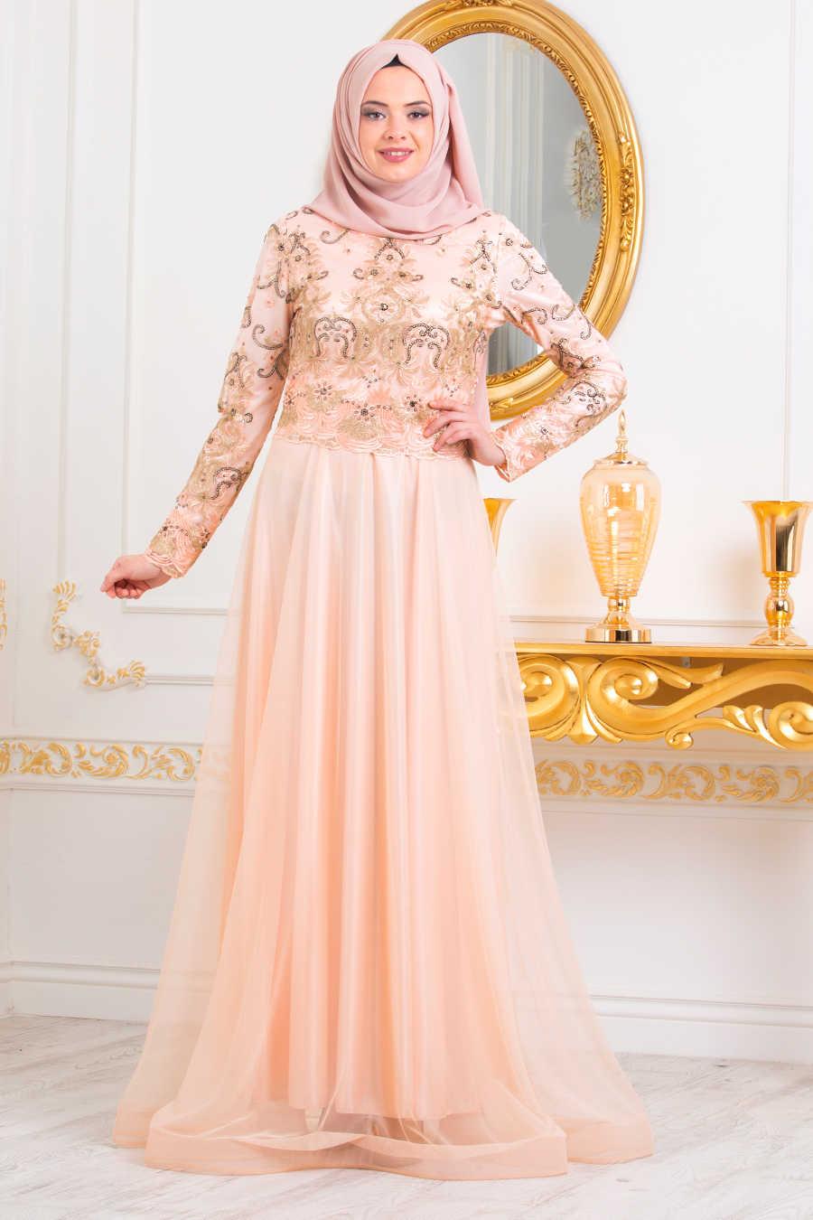 Neva Style - Salmon Pink Hijab Evening Dress 31750SMN