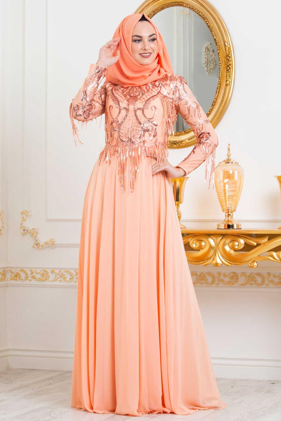 Neva Style - Salmon Pink Hijab Evening Dress 4591SMN