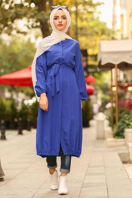 Neva Style - Sax Blue Hijab Coat 40430SX