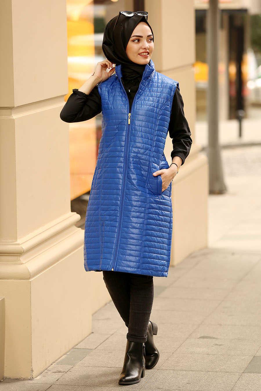 Neva Style - Sax Blue Hijab Coat 5001SX