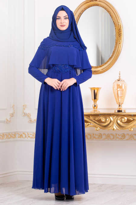 Neva Style - Sax Blue Hijab Evening Dress 36640SX