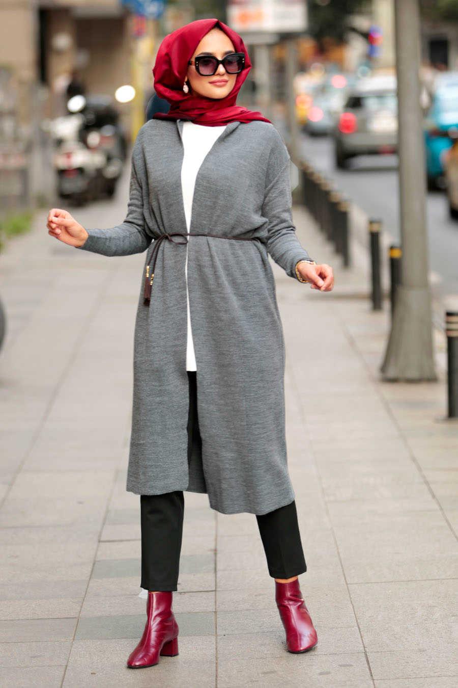 Neva Style - Smoke Color Hijab Cardigan 15426FU