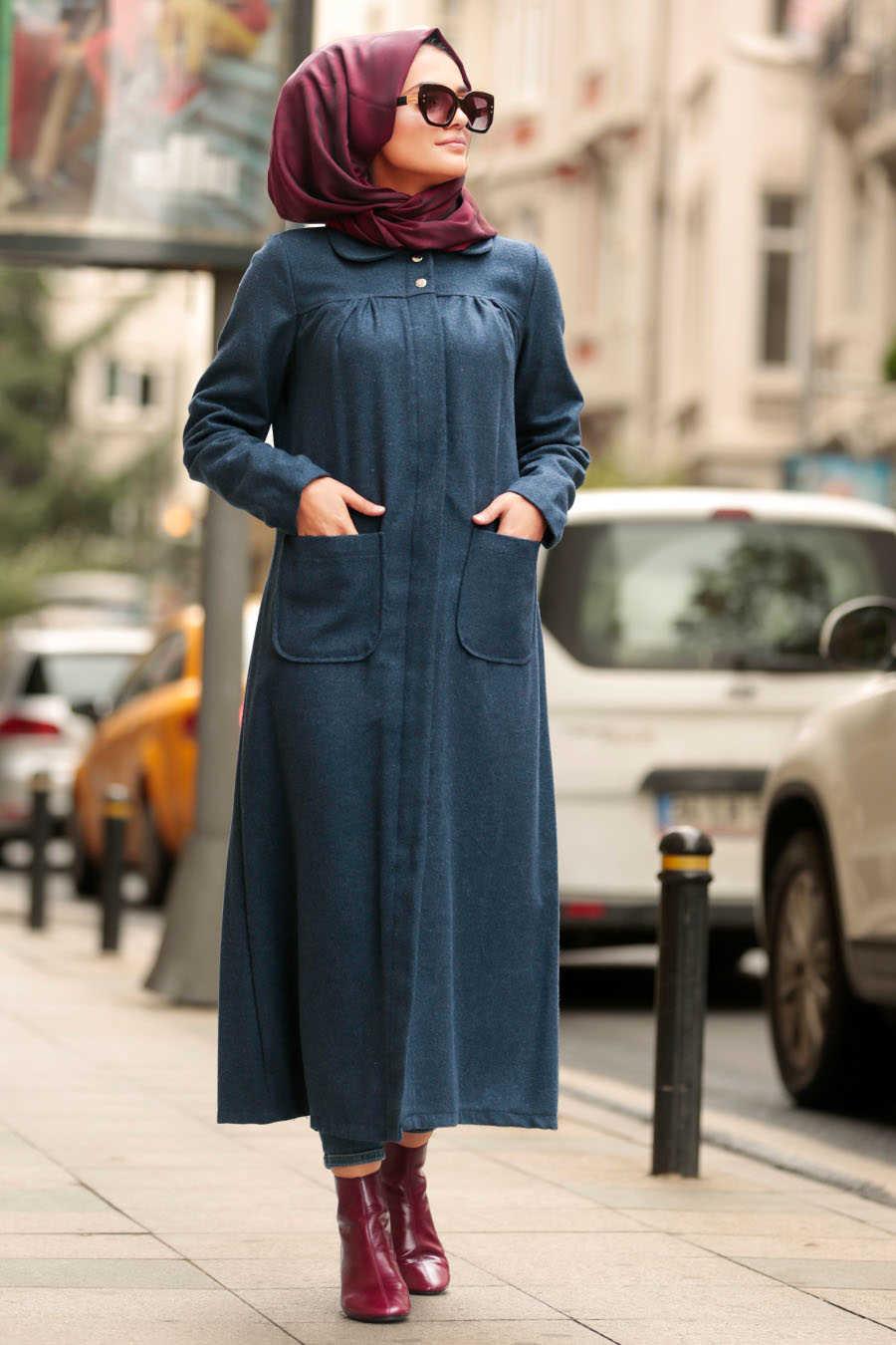 Neva Style - Indigo Blue Hijab Coat 2445IM