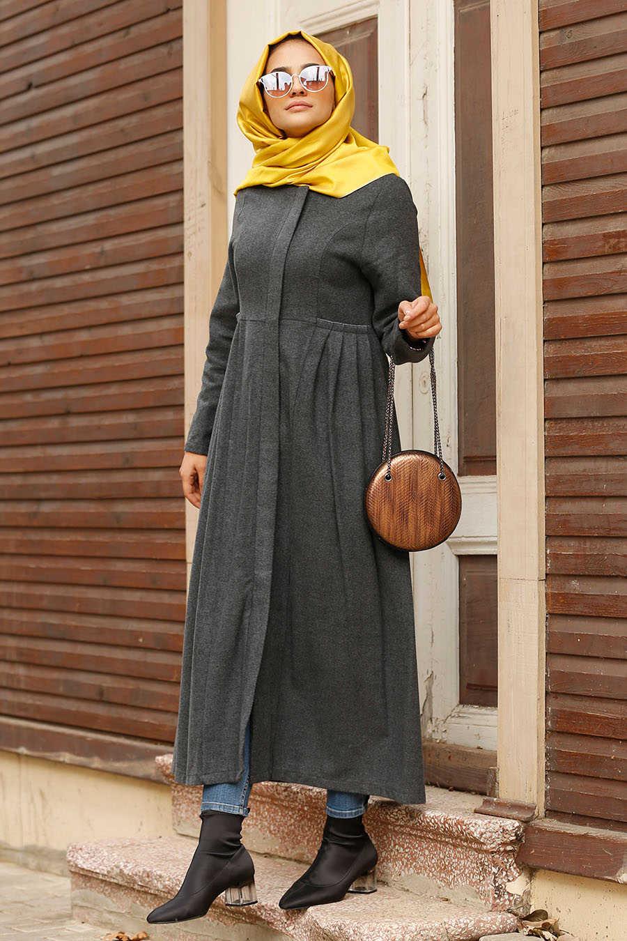 Neva Style - Smoke Color Hijab Coat 2446FU