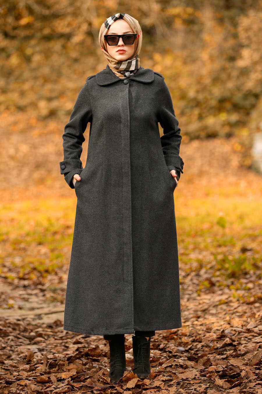 Neva Style - Smoke Color Hijab Coat 2447FU