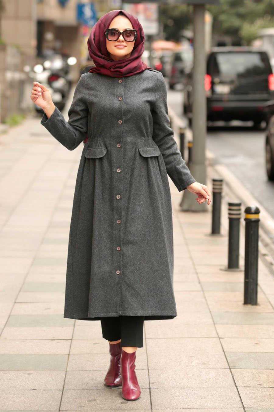 Neva Style - Smoke Color Hijab Coat 24520FU