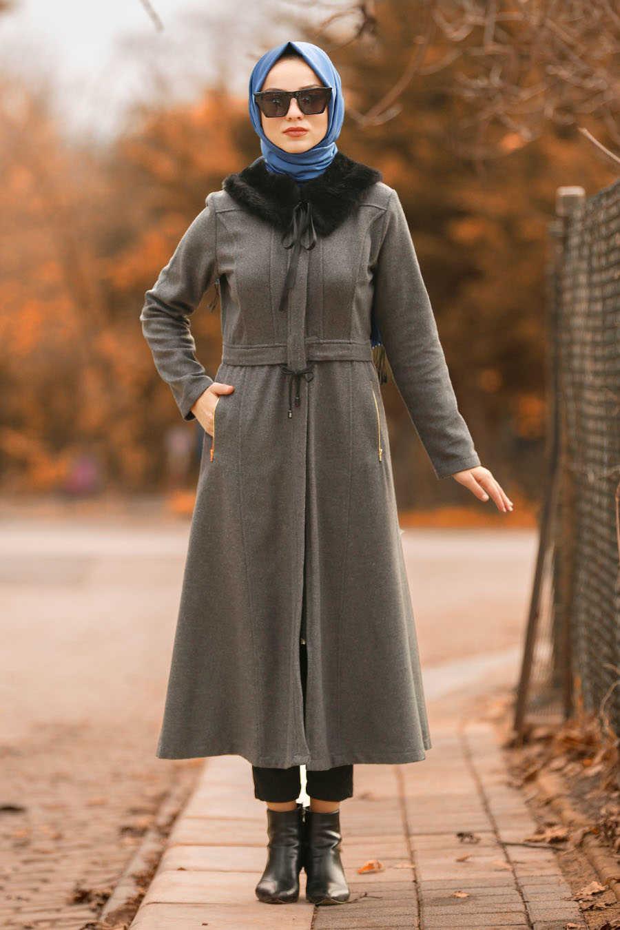 Neva Style - Smoke Color Hijab Coat 40261FU