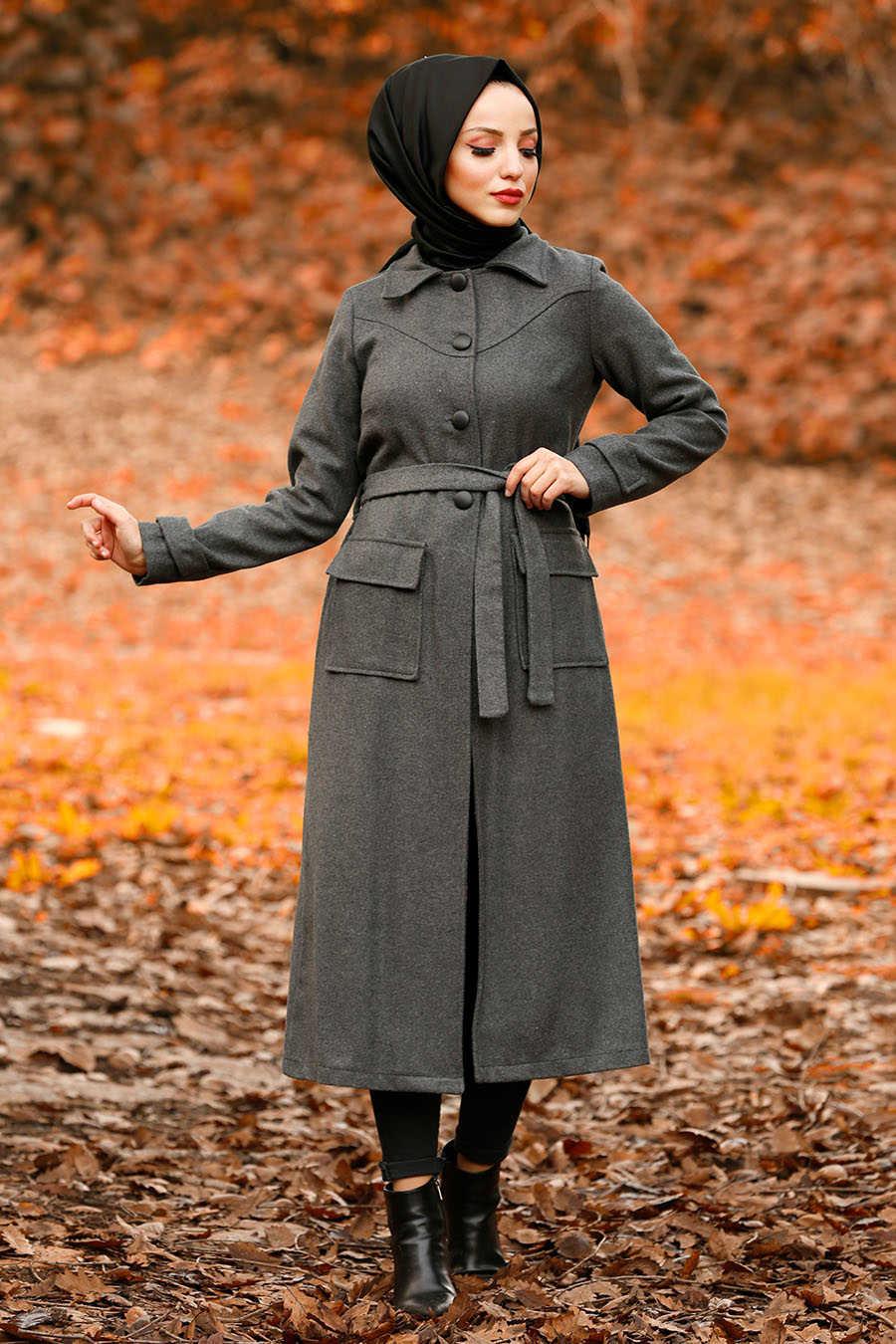 Neva Style - Smoke Color Hijab Coat 4418FU