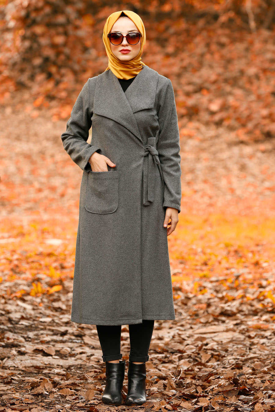Neva Style - Smoke Color Hijab Coat 5415FU