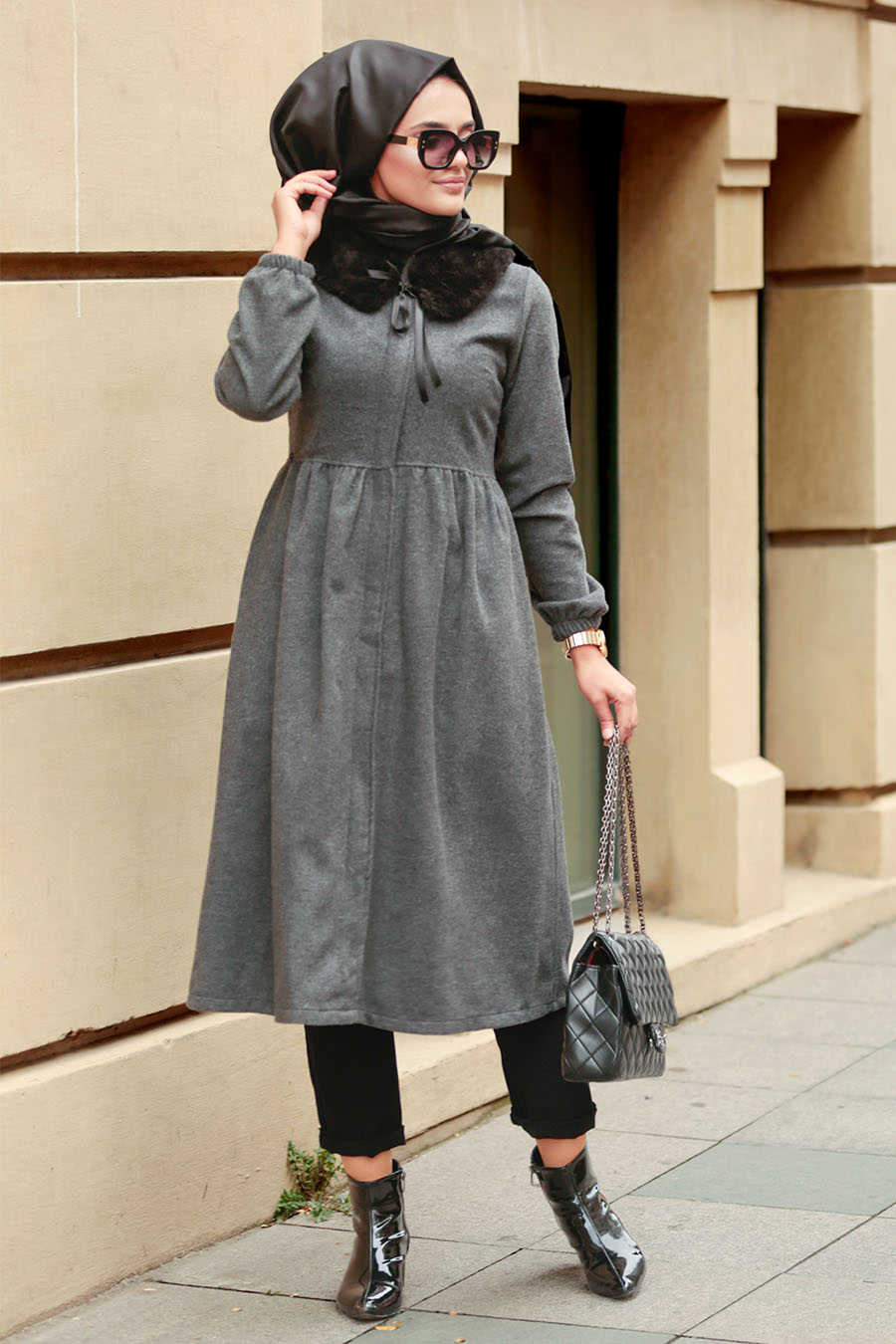 Neva Style - Smoke Color Hijab Coat 9081FU